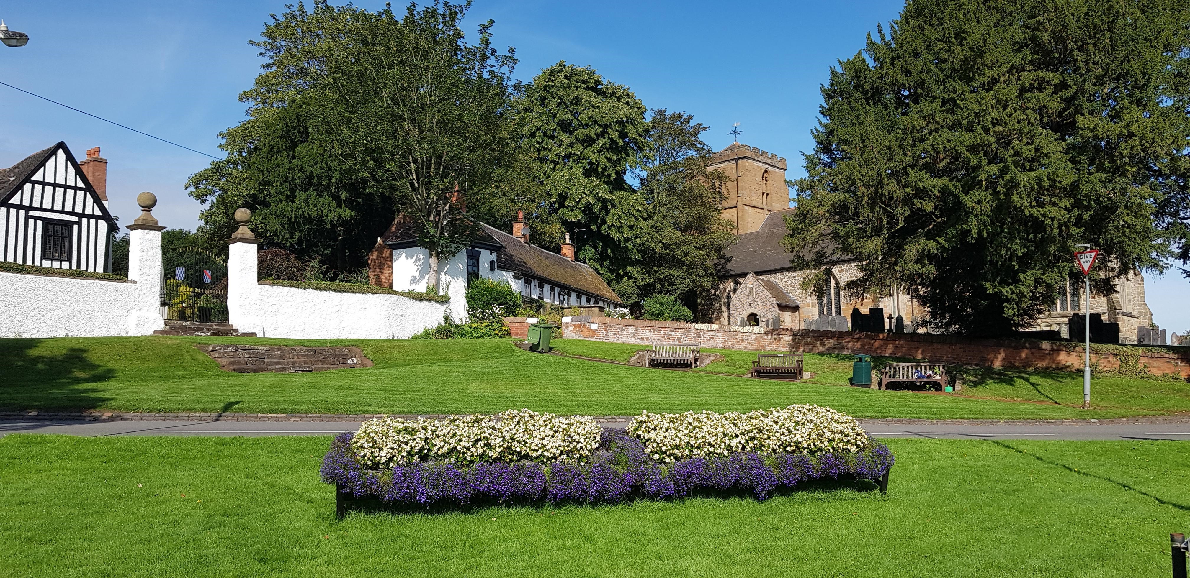Mancetter Green with St Peter's Church and Almshouses